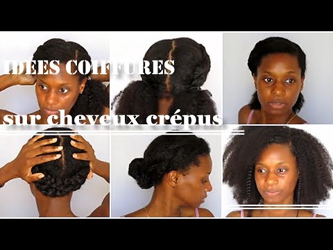 9 IDÉES COIFFURES faciles, rapides et variantes sur cheveux afro👧🏾  (4C, B, A)coiffures évolutives