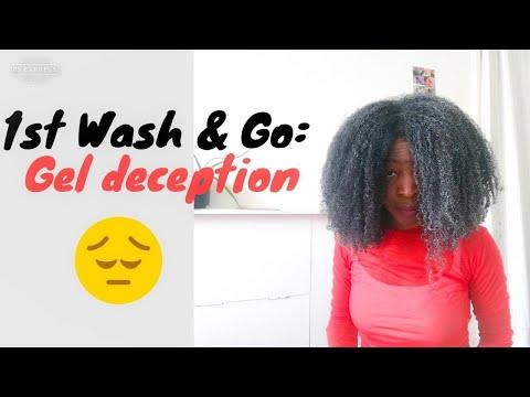 1er Wash and Go cheveux crépus , la CATASTROPHE avec le Gel