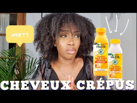 CRASH TEST : SHAMPOOING HAIR FOOD BANANE ET SOIN DÉMÊLANT  CHEVEUX CRÉPUS 4B 4B| MARIE KOKOO