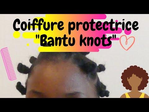 COIFFURE PROTECTRICE CHEVEUX CRÉPUS COURT (Bantu knots)