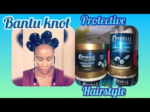 bantu knots protective style/ coiffure protectrice avec mielle organics