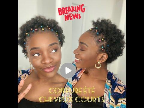 Élastiques sur Cheveux courts Coiffure ÉTÉ POP!  #black #crepus #nappy #elastiques☀️🌈 BOUTON HD