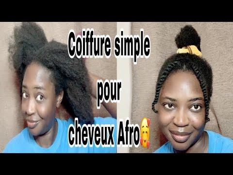 Coiffure pratique pour cheveux afro en 5minutes seulment🥰