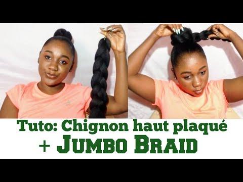 Comment faire un chignon haut plaqué avec des mèches sur cheveux crépus| High bun with Jumbo Braid
