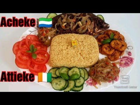 How to make Acheke/Attieke using Gari || Sierra Leone recipe 🇸🇱🇨🇮🇬🇳 By Rahmatula's kitchen